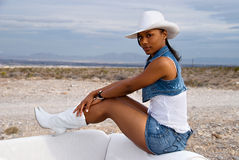 Beautiful woman in desert. royalty free stock photos