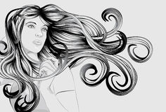 Beautiful woman with detailed hair Stock Images