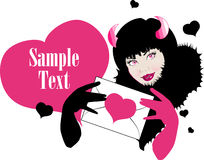 Beautiful woman devil with pink eyes. Beautiful woman - devil with pink eyes and letter in hand falling in love.Text area. One of series Fashion illustrations in vector illustration