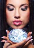 Beautiful woman with a diamond Royalty Free Stock Photo