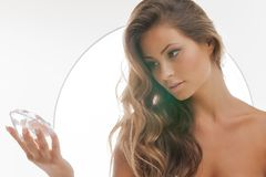 Beautiful woman with diamond Stock Photography