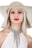 Beautiful woman with diamond necklace and a hat Royalty Free Stock Photos