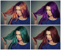 Beautiful woman with different hairstyles hair color Royalty Free Stock Images