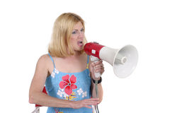 Beautiful Woman Directing With Megaphone 4 Royalty Free Stock Photos