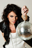 Beautiful woman with disco ball Royalty Free Stock Photo