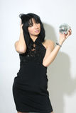 Beautiful woman with discoball Stock Images