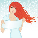 Beautiful woman displaying a banner add. Over floral background. Vector illustration Stock Photography