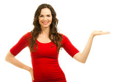 Beautiful woman displaying with hand Royalty Free Stock Images