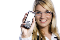 Beautiful woman displaying her mobile Stock Images
