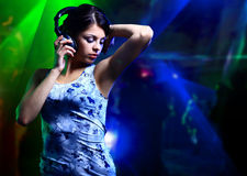 Beautiful woman dj with Stock Photo