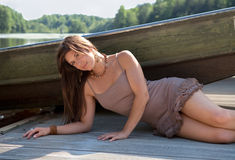 Beautiful Woman On Dock Royalty Free Stock Image