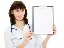 Beautiful woman doctor with an advertising tablet Royalty Free Stock Image