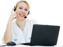 Beautiful woman doctor consultant with telephone Royalty Free Stock Image