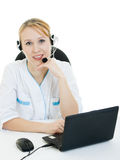 Beautiful woman doctor consultant with telephone Royalty Free Stock Images