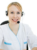 Beautiful woman doctor consultant with telephone Royalty Free Stock Photo