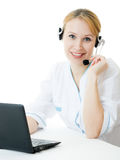 Beautiful woman doctor consultant with telephone Stock Image