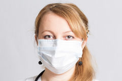 Beautiful woman doctor  in a protective mask Royalty Free Stock Images
