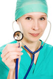 Beautiful woman doctor with stethoscope in hand. Stock Photo