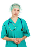 Beautiful woman doctor thinks Stock Photography