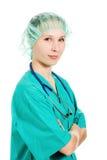 Beautiful woman doctor thinks Stock Photos