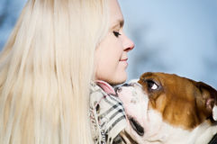 Beautiful woman with a dog Royalty Free Stock Photos