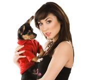 Beautiful woman with dog Royalty Free Stock Photo
