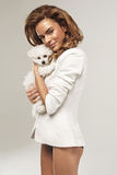 Beautiful woman with a dog Royalty Free Stock Photography