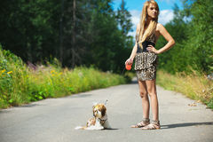 Beautiful woman with dog leash Stock Images