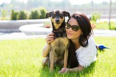 Beautiful woman with dog Royalty Free Stock Photography