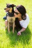 Beautiful woman with dog Stock Photo