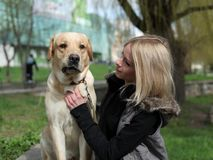 Beautiful woman with dog in the park Stock Image