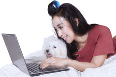 Beautiful woman with dog uses laptop on bed. Image of young woman lying on bed while using notebook computer with a maltese dog Stock Images