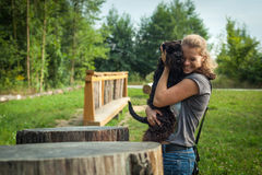 Beautiful woman with dog Royalty Free Stock Images