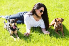 Beautiful woman with dogs Royalty Free Stock Photo