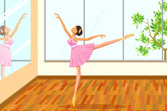 Beautiful woman doing ballet dance. Vector illustration Royalty Free Stock Image