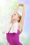 Beautiful woman doing exercise. S outdoors in the morning royalty free stock photography