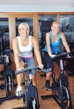 Beautiful woman doing exercise in a spinning class Stock Images