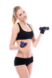 Beautiful woman doing exercises with dumbells Royalty Free Stock Image