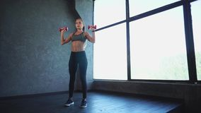 Beautiful woman doing fitness. She lifting dumbbells in the gym. Sport training stock video