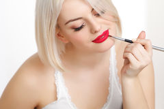 Beautiful Woman Doing Daily Makeup Stock Photography
