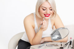 Beautiful Woman Doing Daily Makeup. Royalty Free Stock Images