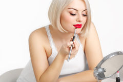 Beautiful Woman Doing Daily Makeup Stock Photos