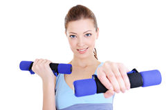 Beautiful woman doing physical exercises Stock Photo