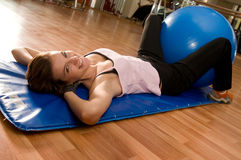 Beautiful Woman Doing Pilates with Ball Royalty Free Stock Photo