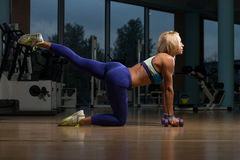 Beautiful Woman Doing Pilates Dumbbell In Fitness Center Stock Photography