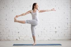 beautiful girl in urdhva dhanurasana yoga pose stock image