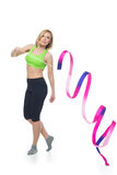 Beautiful woman doing sport exercise with gymnastic ribbon Stock Photography