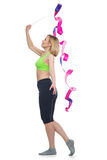 Beautiful woman doing sport exercise with gymnastic ribbon Stock Images