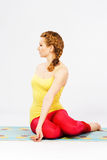 Beautiful woman doing stretching exercise Royalty Free Stock Images