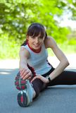 Beautiful Woman Doing Stretching Exercise in the P Stock Photos